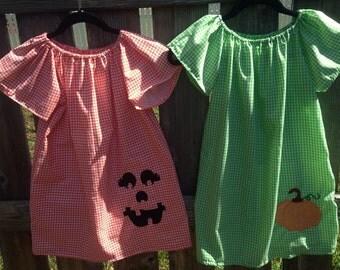 Jack O Lantern and Pumpkin Dress Set