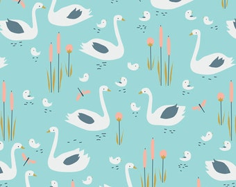 Swan Family in Turquoise, Spring Walk Collection by Little Cube for Cloud 9 Organic Fabrics 1104