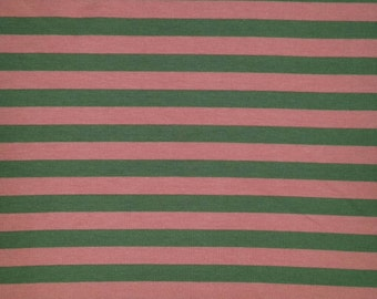 Raspberry and Brown Stripe Jersey Knit Fabric, Persnickety Fabric 5716