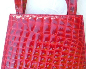 Red Faux Alligator Purse