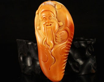 N3488 Hand Carved Tridacna Pendant - Fortune Taoism Deity