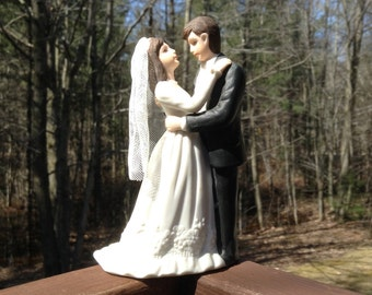 Wedding Cake Topper, Cake Topper, Bride And Groom Figurine, Lefton 00763, Hand Painted Cake Topper,