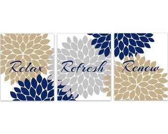 Bathroom wall art relax refresh renew rejuvenate yellow for Blue and gold bathroom sets