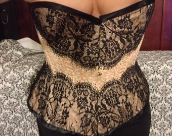 Victorian Over Bust Corset with Chantilly Lace and Swarovski Crystals, Great For Waist Training!!