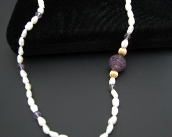 Pretty Freshwater Pearl Necklace with Purple Crystals & 14k Gold Clasp