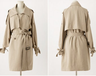 Khaki Trench Coat • Trench Coat Woman • Camel Trenchcoat • Bow Tie • Khaki Coat • Double Breasted Coat • Womens Trench Coat • Peacoat