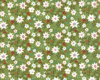 Green Christmas Fabric by the Yard, Juniper Berry Fabric, Basic Grey Fabric, Moda Christmas Fabric, Green Floral Christmas Fabric, 30432 14