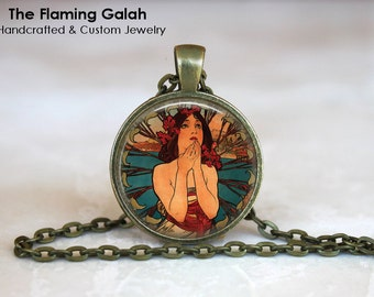 ART NOUVEAU Pendant, Mucha Nouveau Necklace •  Modern Art •  Mucha Charm •  Made in Australia •  (P0020)