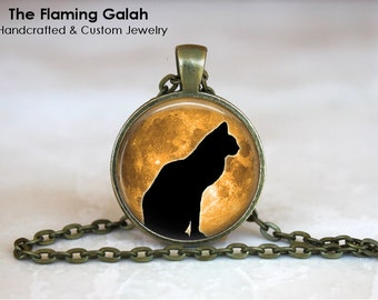 BLACK CAT in the MOONLIGHT Pendant • Cat Silhouette • Cat Shadow • Cat Jewellery • Gift Under 20 • Made in Australia (P0546)