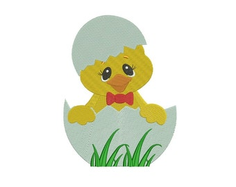 Easter Chick Inside Egg Filled Machine Embroidery Digitized  Design Pattern - Instant Download - 4x4, 5x7, 6x10