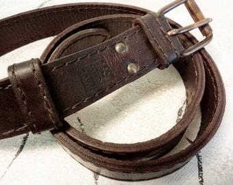 Vintage Men's Leather Belt, Rustic Leather Belt, Genuine Leather Belt, Dark brown Leather Belt, double leather belt