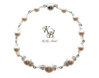 Pearl and Crystal Bracelet, Wire Wrapped Bracelet, Swarovski Pearls, Pearl Bridal Jewelry, Bridal Bracelet, Wedding Jewelry, Pearl Bracelet