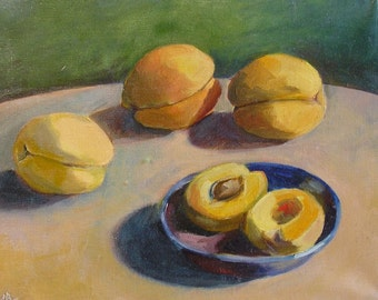 Peaches Original painting oil Fruits decor Apricots still life Yellow fruit nectarine Kitchen wall canvas art Picture for home wall decor