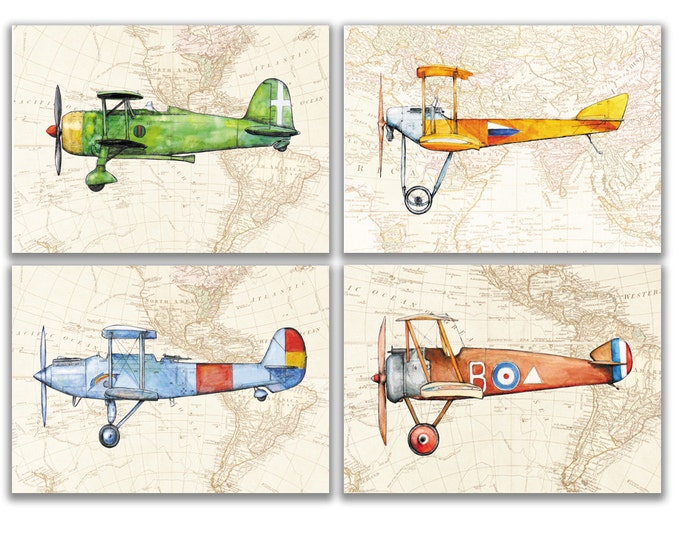 Airplane nursery art Airplane on a Map print Set print Aircraft Warercolor Boy's art Airplane painting Aviation art Babyboy Nursery wall art