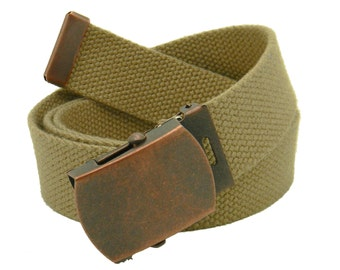 "Antique Copper 1.25"" Military Slider Belt Buckle with Canvas Web belt"