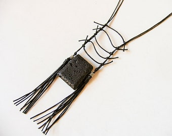 Long Pendant Necklace, Stone Pendant Necklace, Black pendant Necklace Stone, Statement Necklace, Boho Necklace, Tribal Bohemian Jewelry