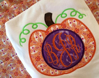 Pumpkin Applique Shirt with Initials for Adults