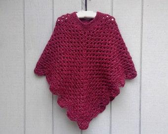 Womens poncho - Crochet shawl - Crochet poncho - Teens poncho - Retro style poncho - Womens shawl