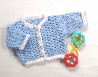 Newborn sweater - Crochet baby cardigan - Baby blue cardigan - Baby shower gift