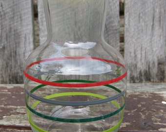 Vintage Striped Glass Juice Container with Lid