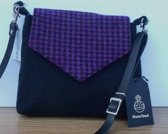 Black and Pink Harris Tweed Bag