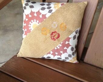 Gold & Burgundy Stripe Pillow