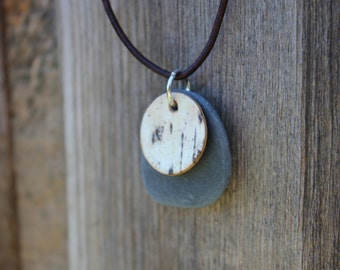 Maine Lake Stone and Birch Bark Necklace, FREE SHIPPING