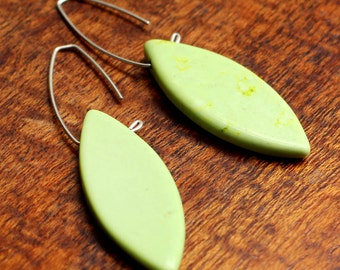 Lime Green Turquoise Leaves on Silver