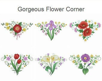 Gorgeous Flower Corner Machine Embroidery Designs Pack Instant Download 4x4 5x5 6x6 hoop 10 designs SHE5147