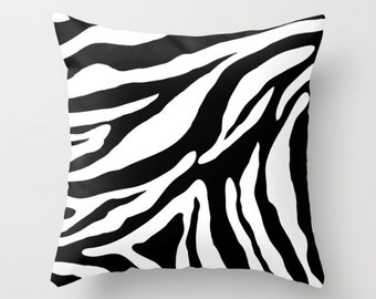 Zebra Pillow Cover - Zebra Cushion Cover - Black and White Zebra Pillow Cover - Animal Print Decorative Pillow - By Aldari Home