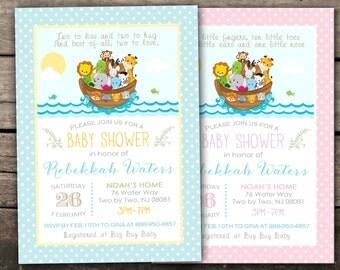 10% OFF Printed Or Digital Noahu0027s Ark Baby Shower Invitation Twins Baby  Shower Invitation Noahu0027s