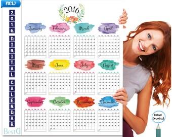 2016 Planner calendar 18x24,printable watercolor monthly calendar,Instant Download yearly calendar,digital calendar,wall decor calendar