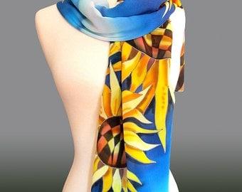 Silk Scarf Sunflowers. Hand Painted Silk Scarf. Sunflowers Scarf. Blue Scarf. Yellow Scarf. Floral Silk Scarf. Sunflowers.