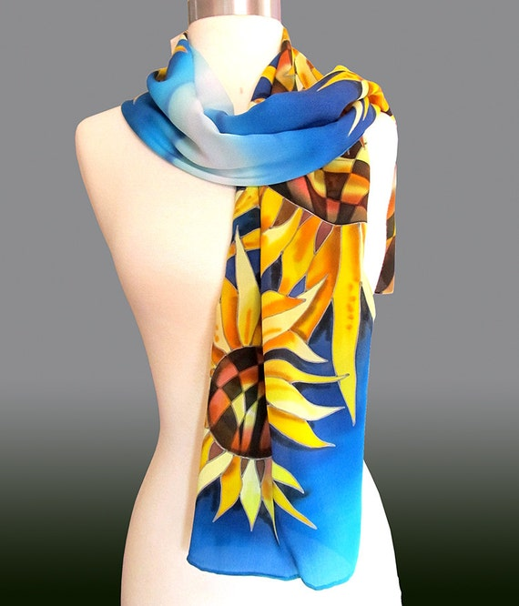 Silk Scarf Sunflowers. Hand Painted Silk Scarf. Sunflowers Scarf. Blue Scarf. Yellow Scarf. Floral Silk Scarf. Sunflowers.