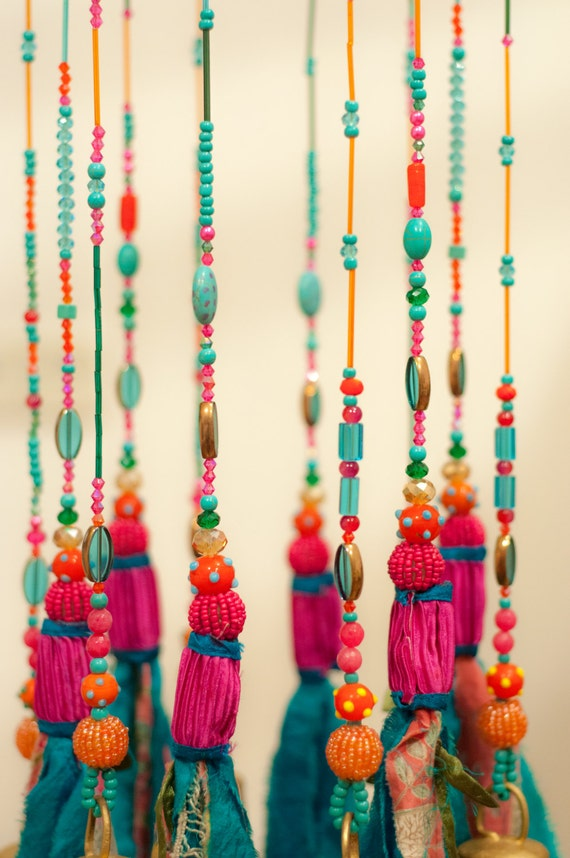 Turquoise home decor mobile bells d cor wind chime ceiling for Turquoise decorations for home