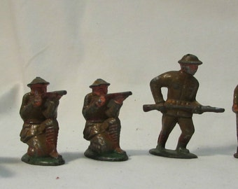 Soldier Figurines, Set of Five, Cast Metal Collectible Toys, World War 1, 1930's