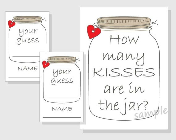 It is a graphic of Accomplished Guess How Many Kisses for the Soon to Be Mrs Free Printable