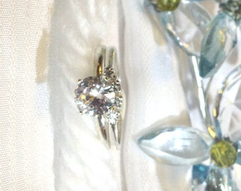 Elegant White Sapphire Wedding Ring Set ~ 925 Sterling Silver ~ Size 7.75