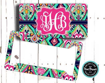 Pink Green Paisley Lilly Pulitzer Inspired License Plate, Preppy, Monogram License Frame, Bicycle Tag, Front Car Tag, Personalized Tag 32LT