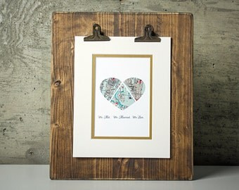 We Met, We Married, We Live -Custom Heart Maps- Love Story Map Gift- One Year 1st Anniversary- Long Distance Relationship Gift -Wall Art