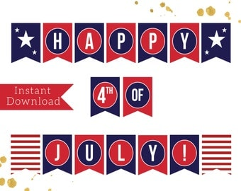 INSTANT DOWNLOAD | Happy 4th of July Banner Instant Download Americana Red White Blue Printable Banner July 4 BBQ Stars and Stripes July 4th