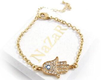 Hamsa Bracelet, Hamsa Jewelry, Chain Bracelets, Charm Bracelets, Friendship Bracelets, Best Friend Bracelets, Best Friend Gifts, Gift, Gold