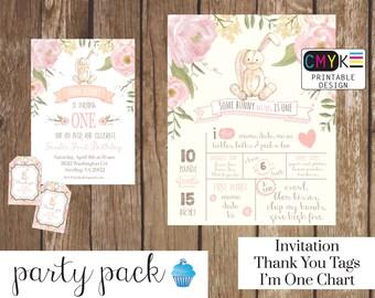Bunny Birthday Invitation, Some Bunny is One, First Birthday Bunny Party Pack. Birthday Party Printable Decorations, Invite, Birthday Chart