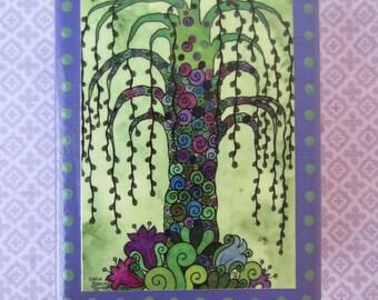 "Green Willow Tree - Print of an original watercolor painting on a cedar wood block (4""L x 5 1/4""H x 1 1/2"" W) - art block - home decor"