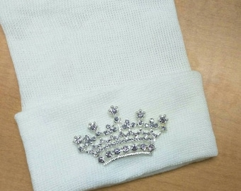 Newborn Hospital Hat EXCLUSIVE.  White Hat with Lavender Rhinestone Tiara. Her Very 1st Tiara Keep