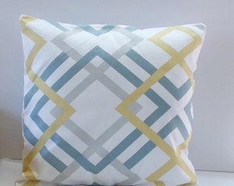 Winston Saffron Yellow Pillow Cover- Yellow, Blue, Gray and White Decorative Couch Pillow 16x16- Ready to Ship