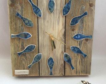 Driftwood fish clock
