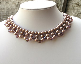 Pearl Necklace, Beadwork Necklace, Formal Necklace, Bib Necklace, Mauve Necklace, Bead Necklace Women, Glass Pearl Necklace, Gift for Her