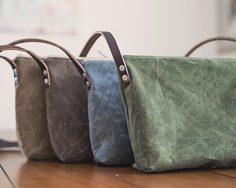 Waxed Canvas Crossbody day bag, leather strap