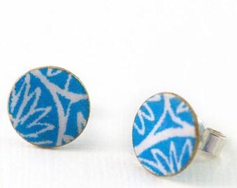 Blue stud earrings, blue earrings, paper jewellery, silver stud earrings, sterling silver, handmade